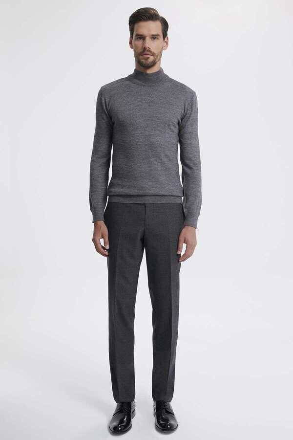 Gray Wool Mock Neck Sweater