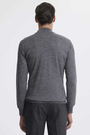Gray Wool Mock Neck Sweater - Thumbnail