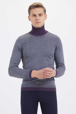 Gray Wool Turtleneck Sweater - Thumbnail