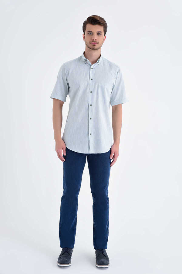 Hatemoğlu - Green Button Down Short Sleeve Dress Shirt