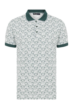 Green Printed Polo Shirt - Thumbnail