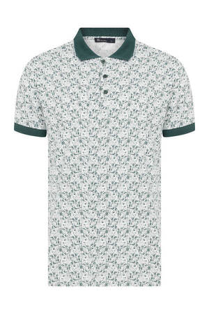 Green Printed Polo Shirt