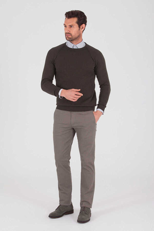 Khaki Cotton Crew Neck Sweater - Thumbnail