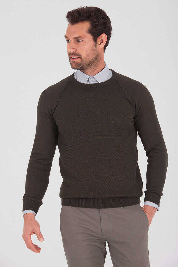 Khaki Cotton Crew Neck Sweater