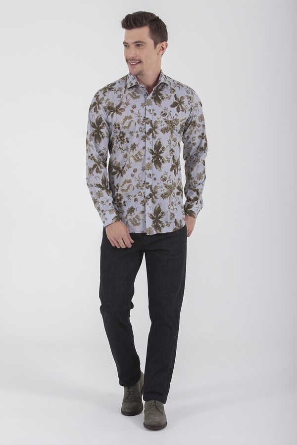 HTML - Khaki Printed Slim Fit Casual Shirt