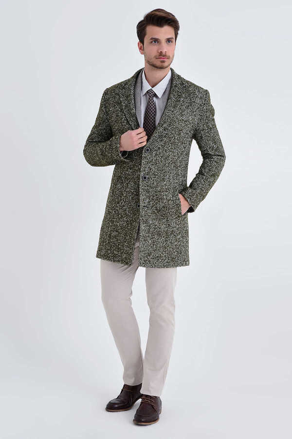 HTML - Khaki Wool Printed Coat