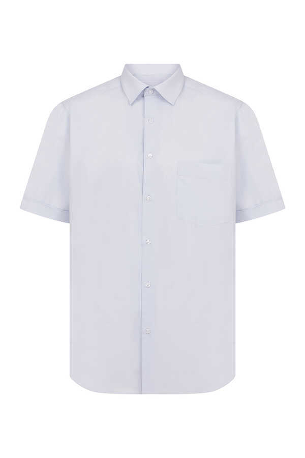 Hatemoğlu - Light Blue Pocket Short Sleeve Dress Shirt