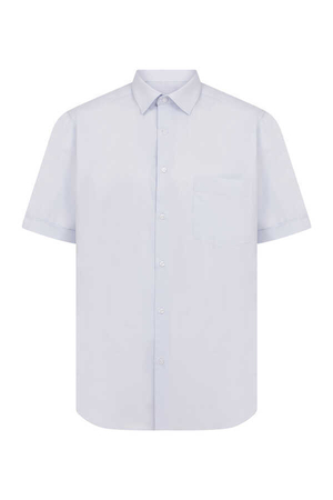 Light Blue Pocket Short Sleeve Dress Shirt - Thumbnail