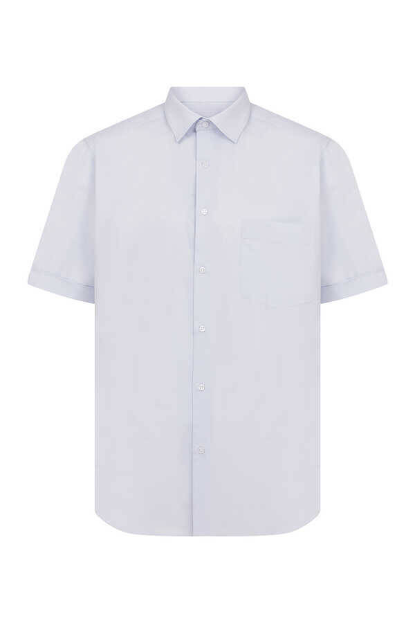 Light Blue Pocket Short Sleeve Dress Shirt