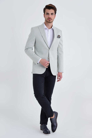 Hatem Saykı - Light Gray Slim Fit Blazer