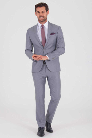 HTML - Light Gray Slim Fit Suit