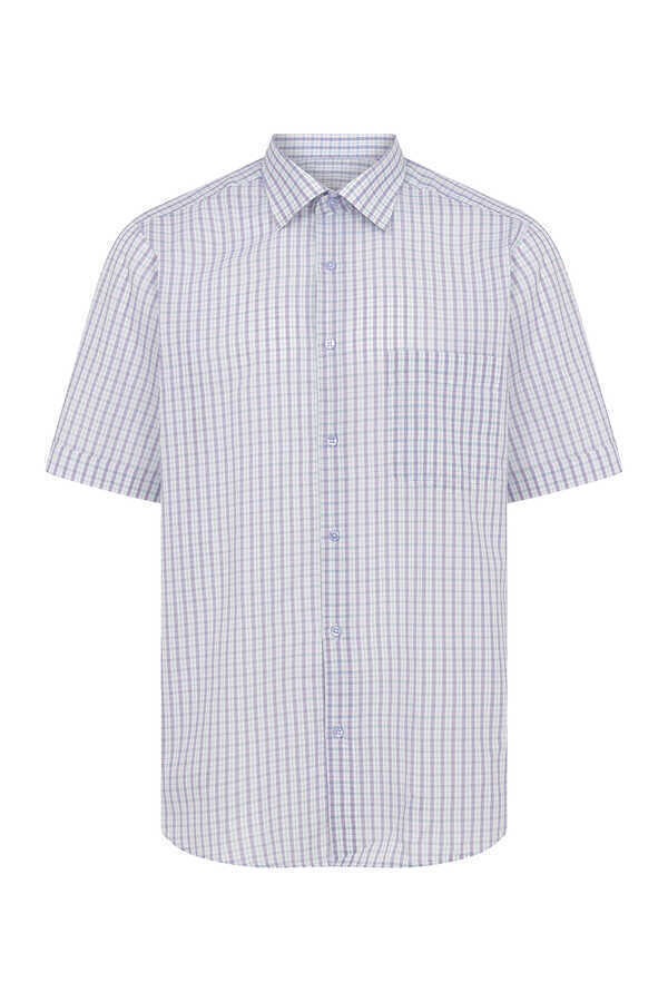 Hatemoğlu - Lilac Checkered Short Sleeve Dress Shirt
