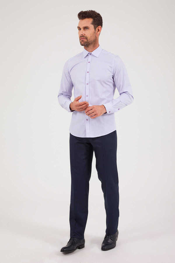 Hatem Saykı - Lilac Striped Slim Fit Shirt