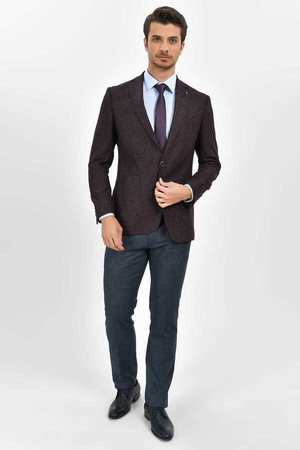 Hatemoğlu - Maroon Bird's Eye Slim Fit Blazer