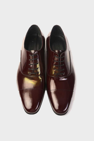 Maroon Classic Oxford Shoes - Thumbnail