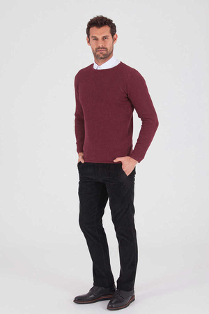 HTML - Maroon Cotton Crew Neck Sweater