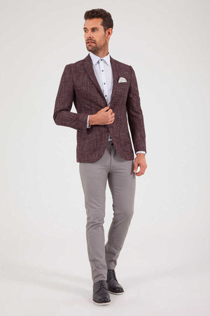 HTML - Maroon Crosshatch Slim Fit Blazer