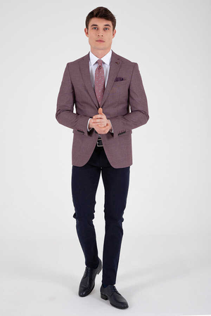 Hatemoğlu - Maroon Patterned Slim Fit Classic Blazer
