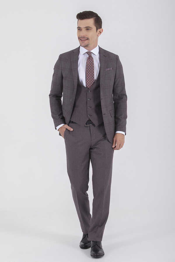 Hatemoğlu - Maroon Plaid Slim Fit 3-Piece Suit