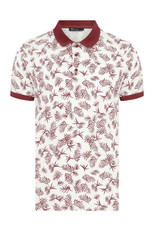 HTML - Maroon Printed Polo Shirt