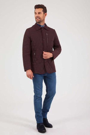 Maroon Quilted Jacket - Thumbnail