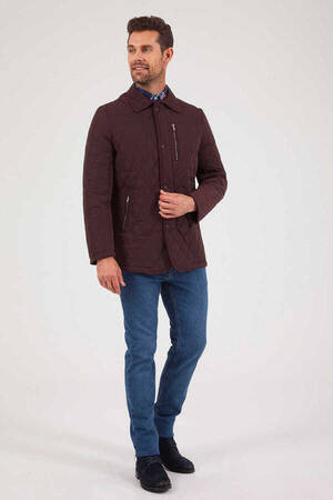 Maroon Quilted Jacket