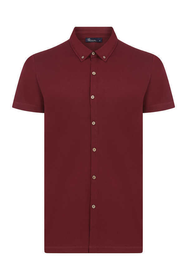 HTML - Maroon Short Sleeve Casual Shirt