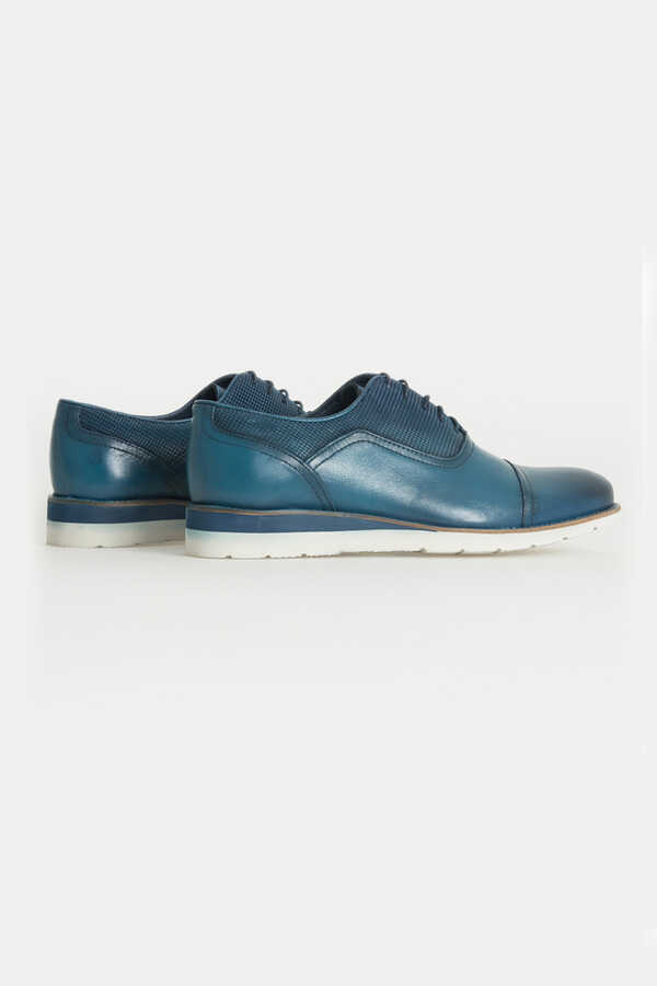 Hatem Saykı - Mid Blue Leather Casual Shoes