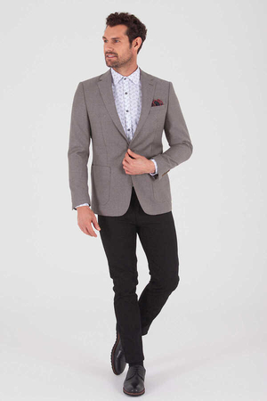 Hatem Saykı - Mink Bird's Eye Wool Slim Fit Blazer