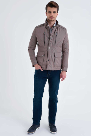 Mink Grandad Collar Casual Jacket - Thumbnail