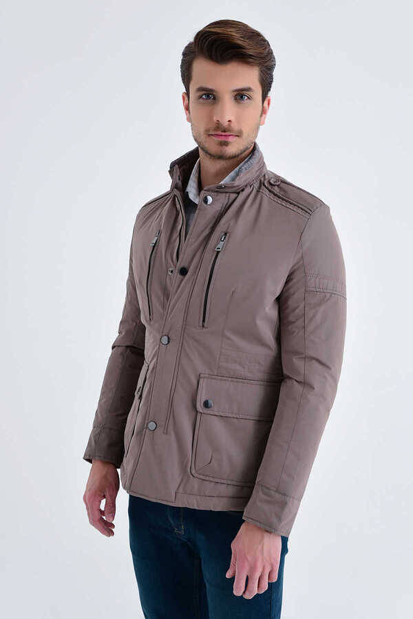 Mink Grandad Collar Casual Jacket