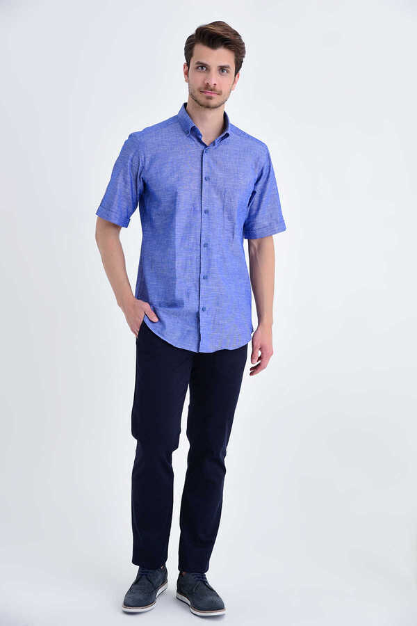 Hatemoğlu - Navy Button Down Short Sleeve Dress Shirt