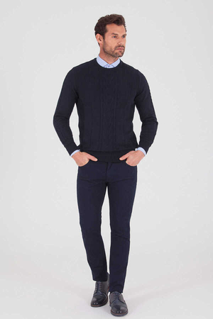 Hatemoğlu - Navy Cotton Crew Neck Sweater