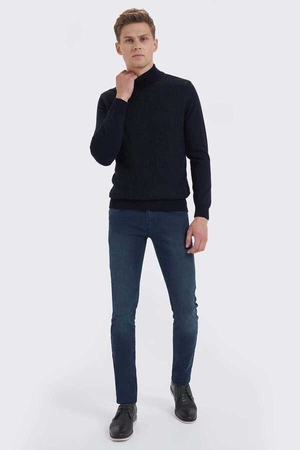 Navy Cotton Mock Neck Sweater - Thumbnail
