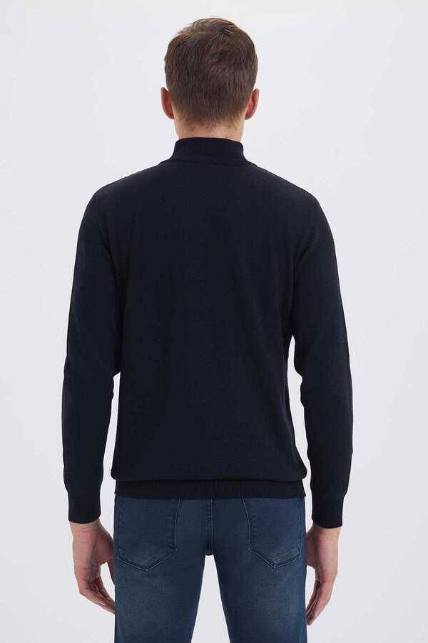 Navy Cotton Mock Neck Sweater