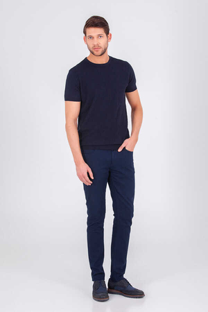 Hatem Saykı - Navy Crew Neck Basic T-shirt