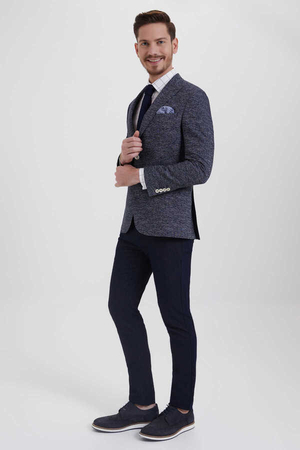 Hatem Saykı - Navy Crosshatch Slim Fit Blazer