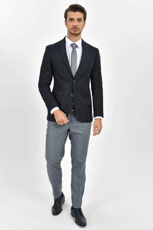 Hatemoğlu - Navy Crosshatch Slim Fit Blazer