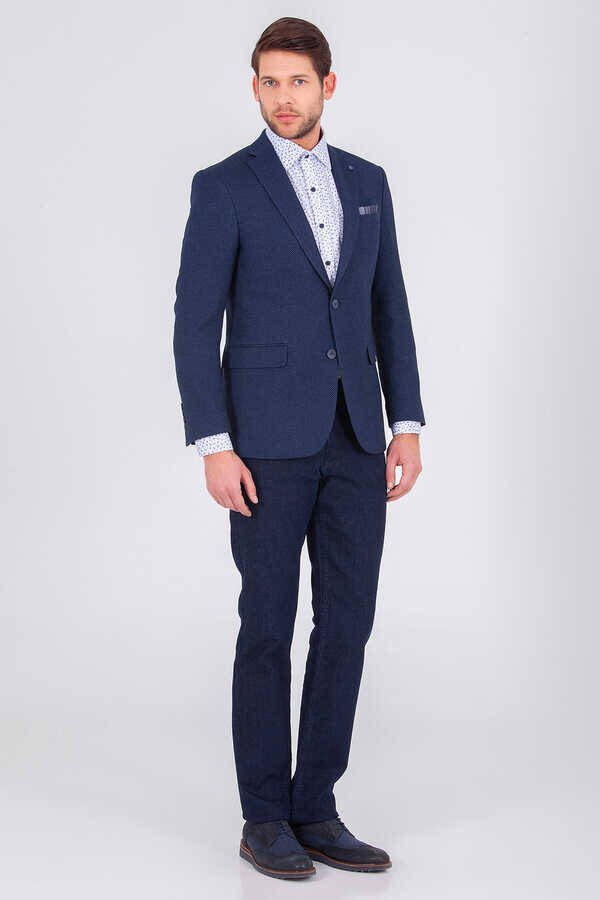 Navy Crosshatch Slim Fit Blazer