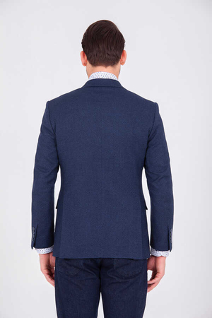 Navy Crosshatch Slim Fit Blazer - Thumbnail