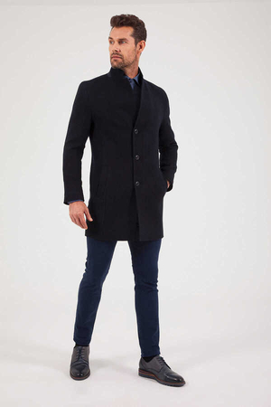 HTML - Navy Grandad Collar Coat
