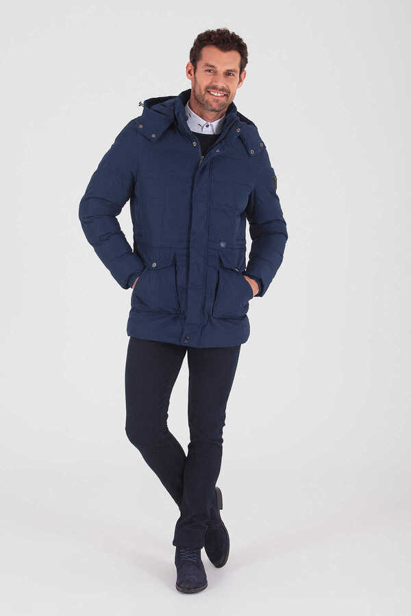 Hatemoğlu - Navy Hooded Puffer Coat