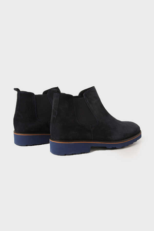 Navy Leather Boots - Thumbnail