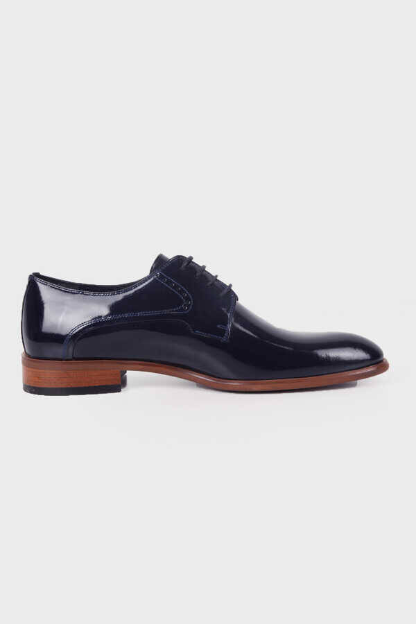 Navy Patent Leather Tuxedo Shoes