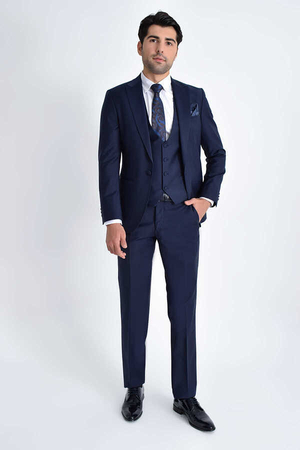 Navy Peak Lapel Slim Fit 3-Piece Tuxedo - Thumbnail