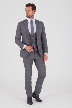 Hatemoğlu - Navy Plaid Slim Fit Suit
