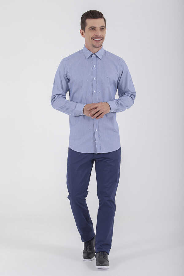Hatem Saykı - Navy Printed Dress Shirt