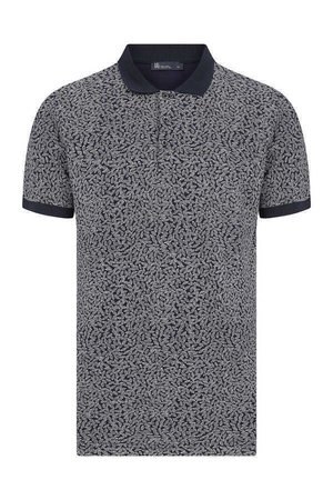 HTML - Navy Printed Polo T-Shirt