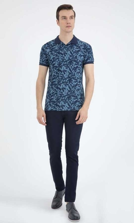 HTML - Navy Printed Polo Shirt