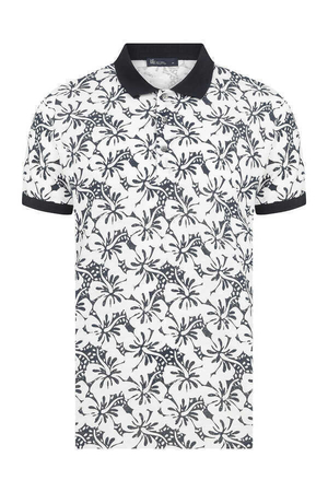 Navy Printed Polo T-Shirt - Thumbnail